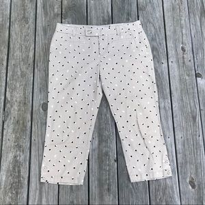 LOFT linen blend dotted pants w/ button details
